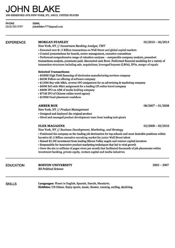 paris - One Job Resume Template