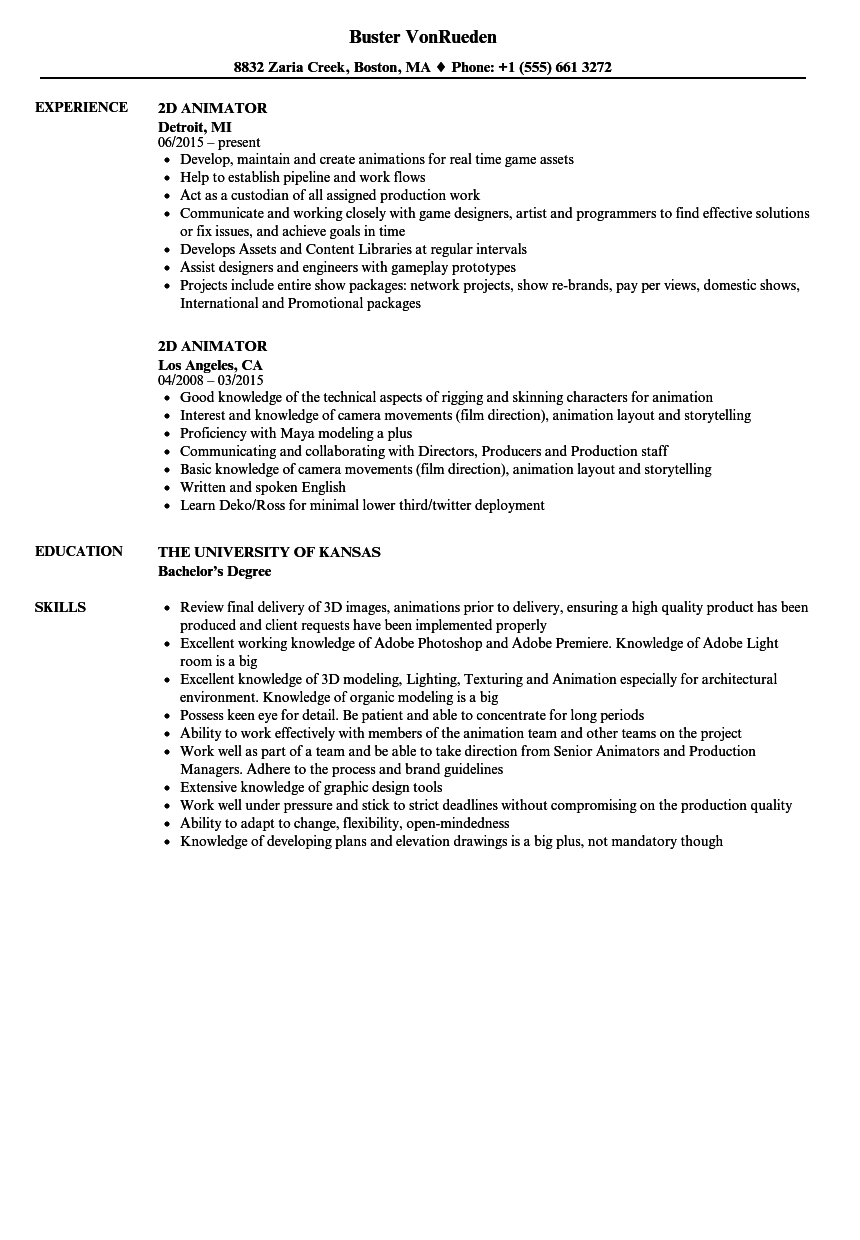 2d animator resume samples velvet jobs