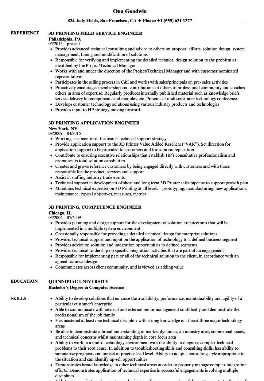 3d engineer resume samples