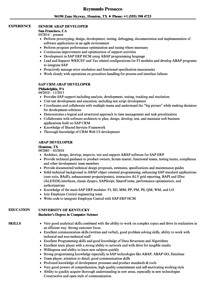 abap developer resume samples velvet jobs
