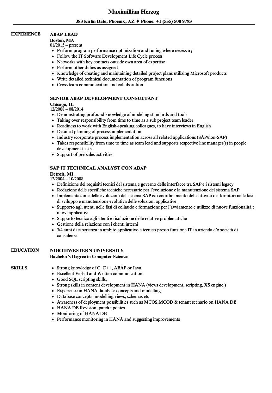 Abap Resume Samples Velvet Jobs