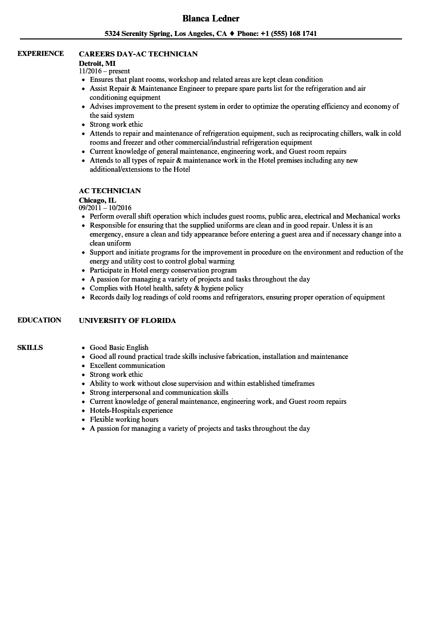 Ac Technician Resume Samples Velvet Jobs