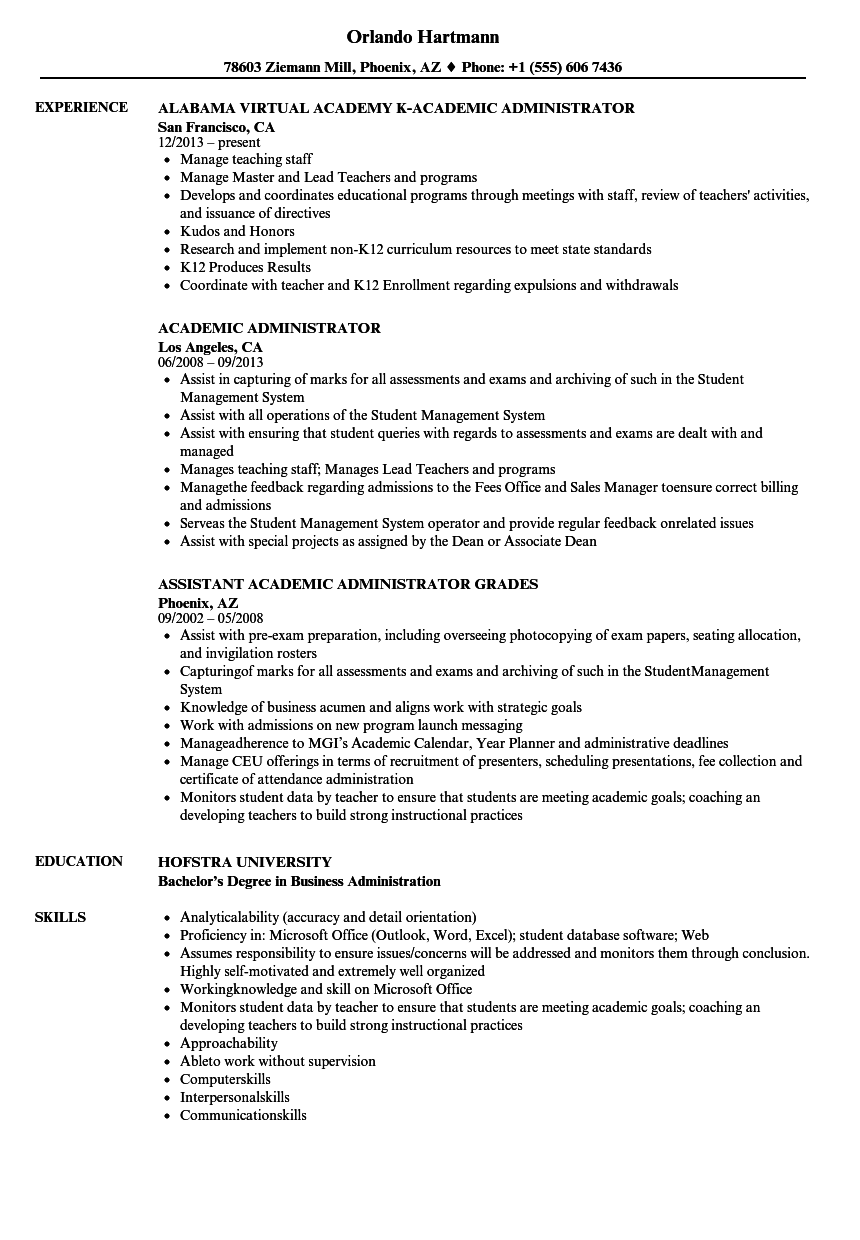 academic administrator resume samples velvet jobs