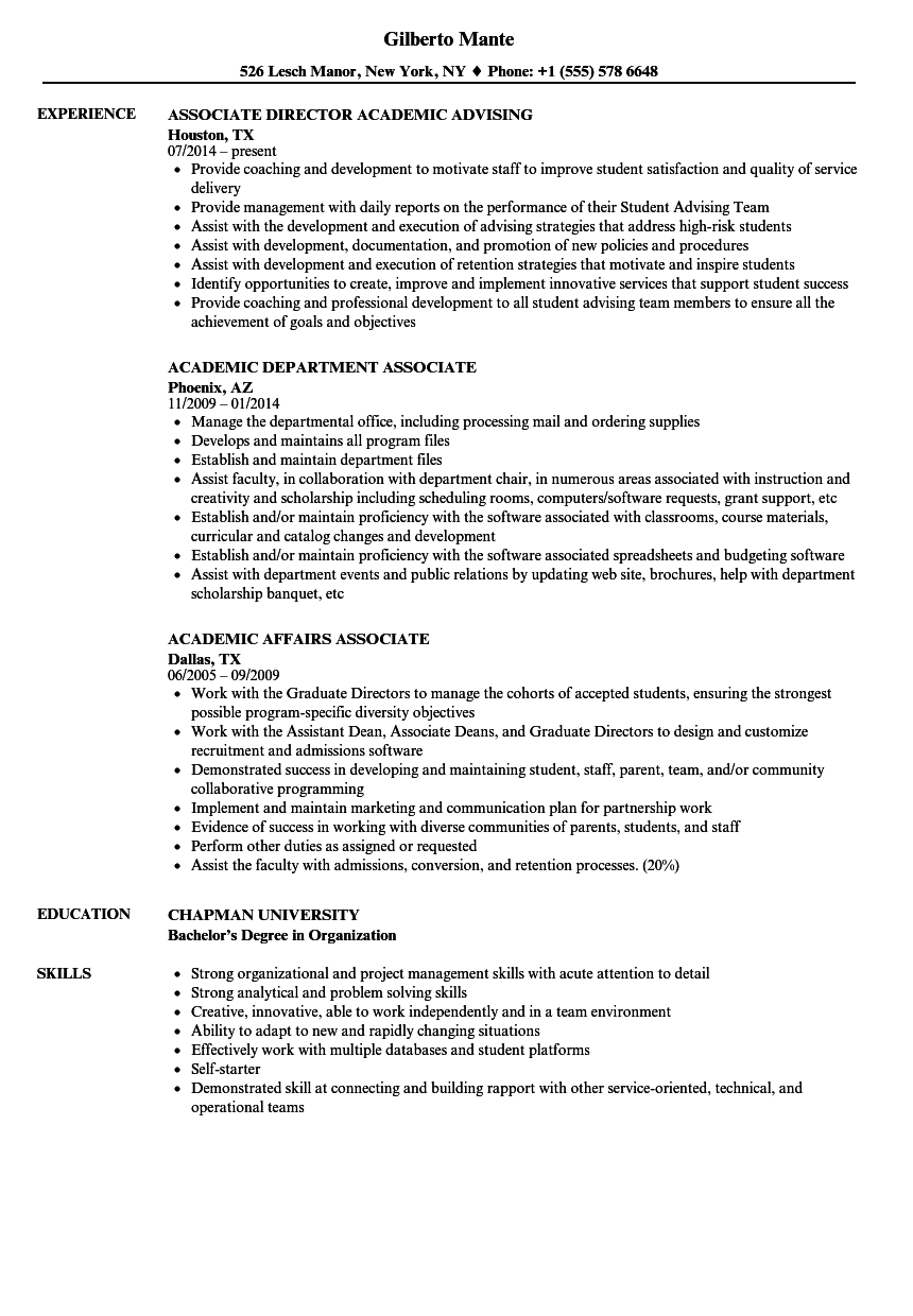 Academic Associate Resume Samples | Velvet Jobs