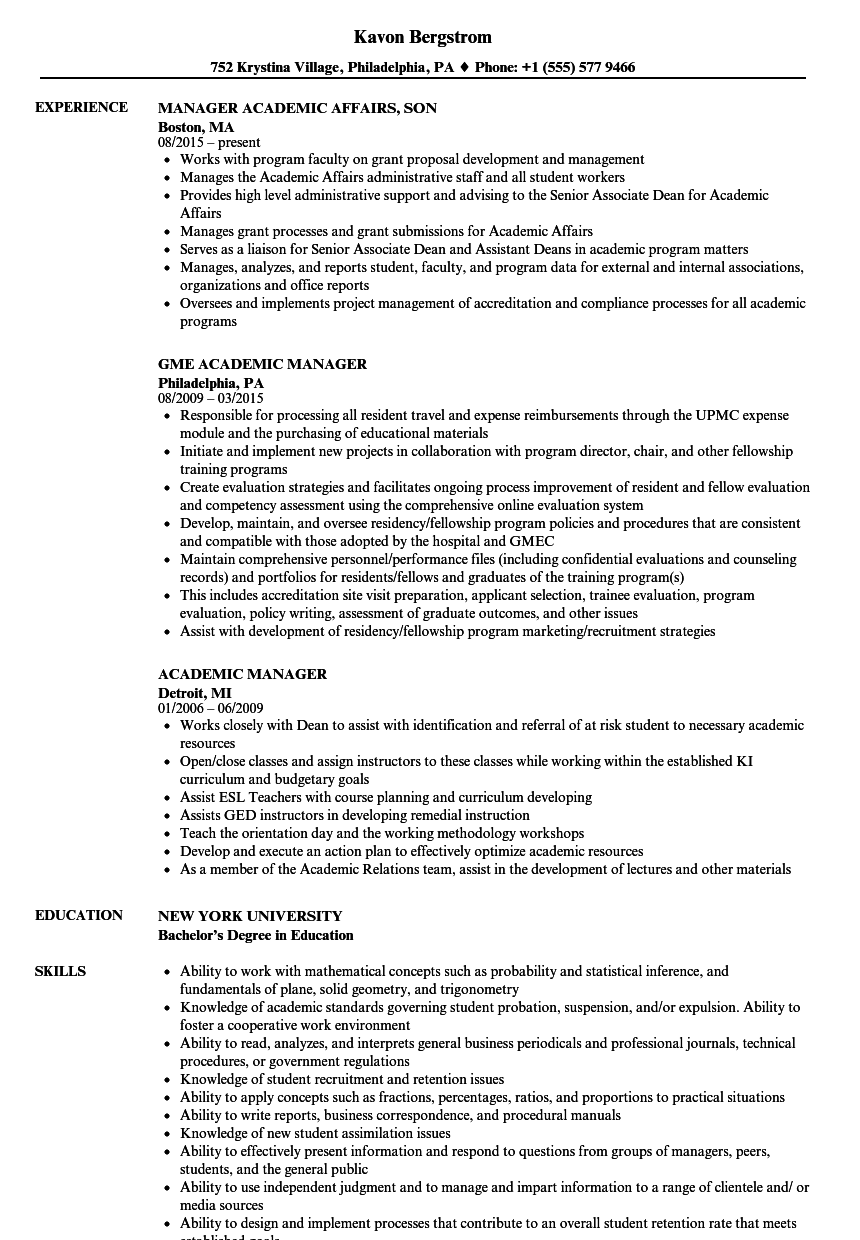 academic manager resume samples velvet jobs