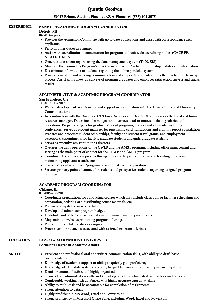 Academic Program Coordinator Resume Samples | Velvet Jobs