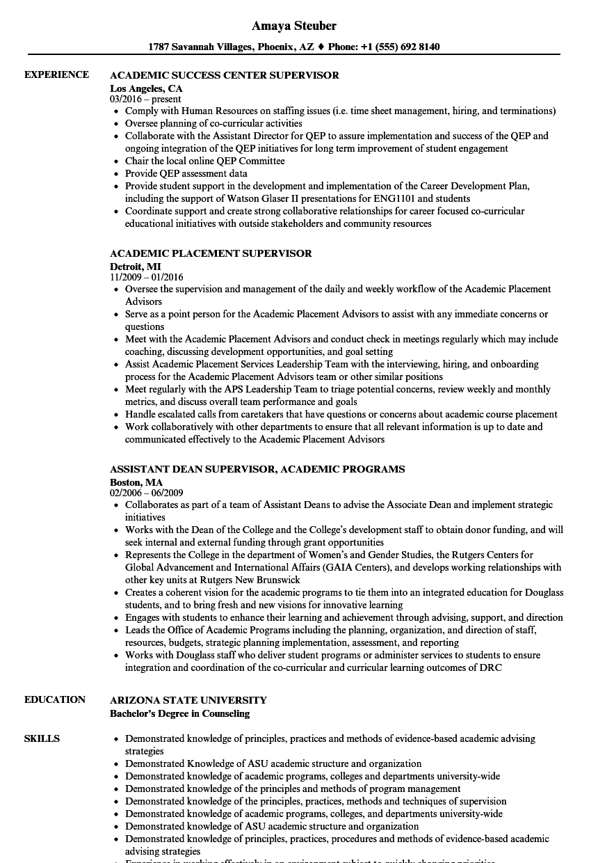 Download Academic Supervisor Resume Sample As Image File  Academic Resume Sample