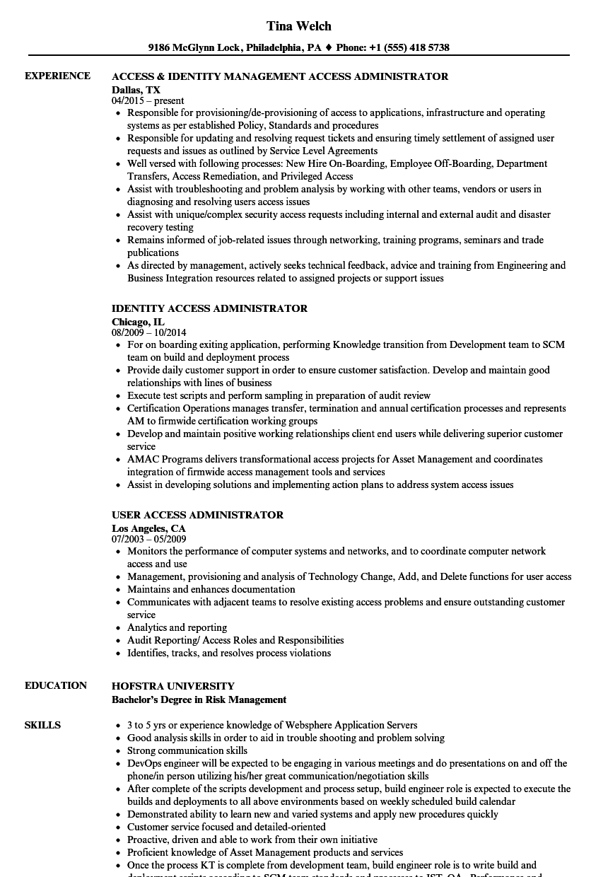 access administrator resume samples