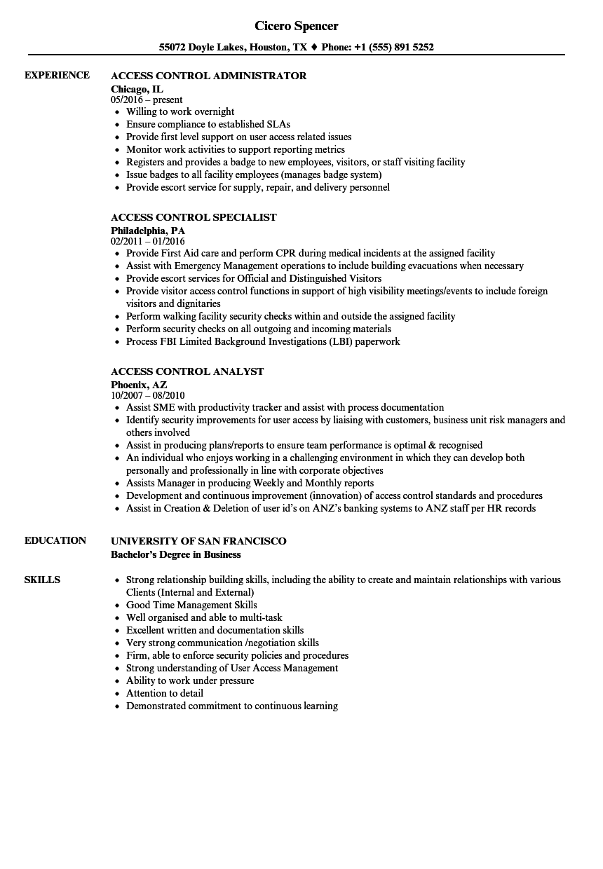 Access Control Resume Samples Velvet Jobs