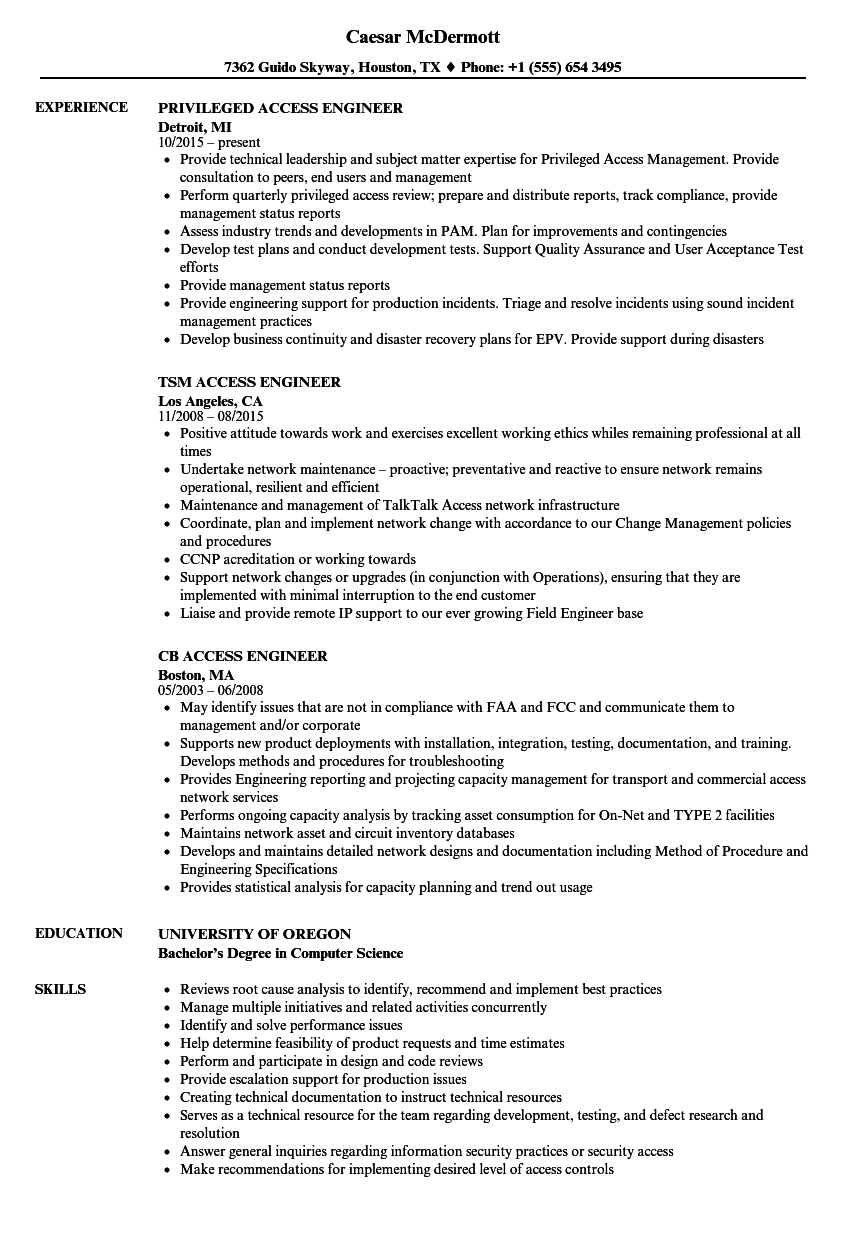 Download Access Engineer Resume Sample As Image File