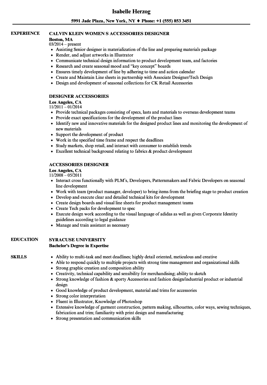 Accessories Designer Resume Samples Velvet Jobs