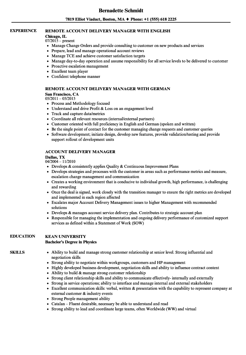 account delivery manager resume samples
