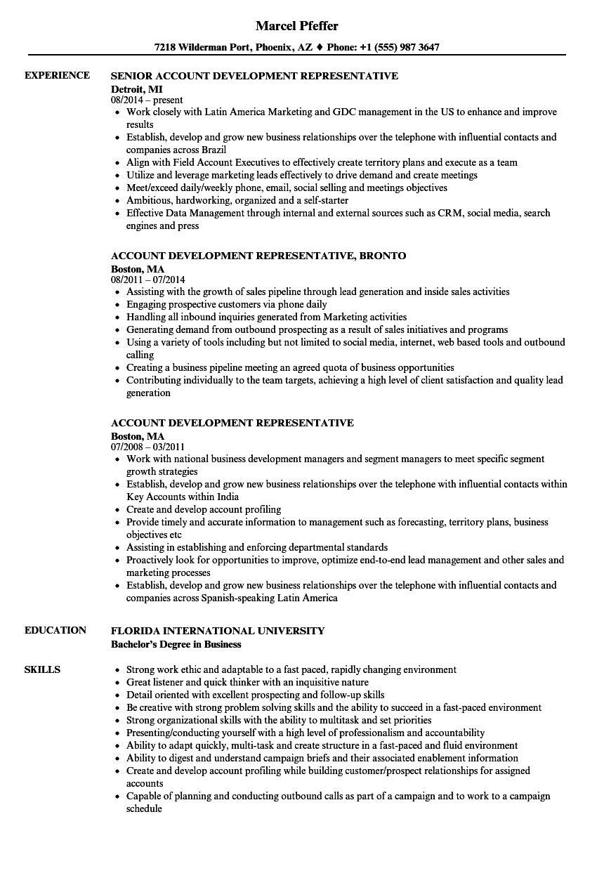 account development representative resume samples velvet jobs