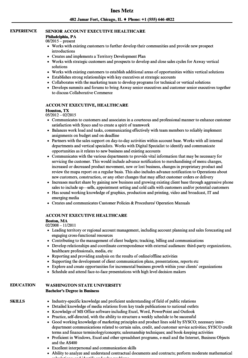 Download Account Executive, Healthcare Resume Sample As Image File  Sample Healthcare Resume