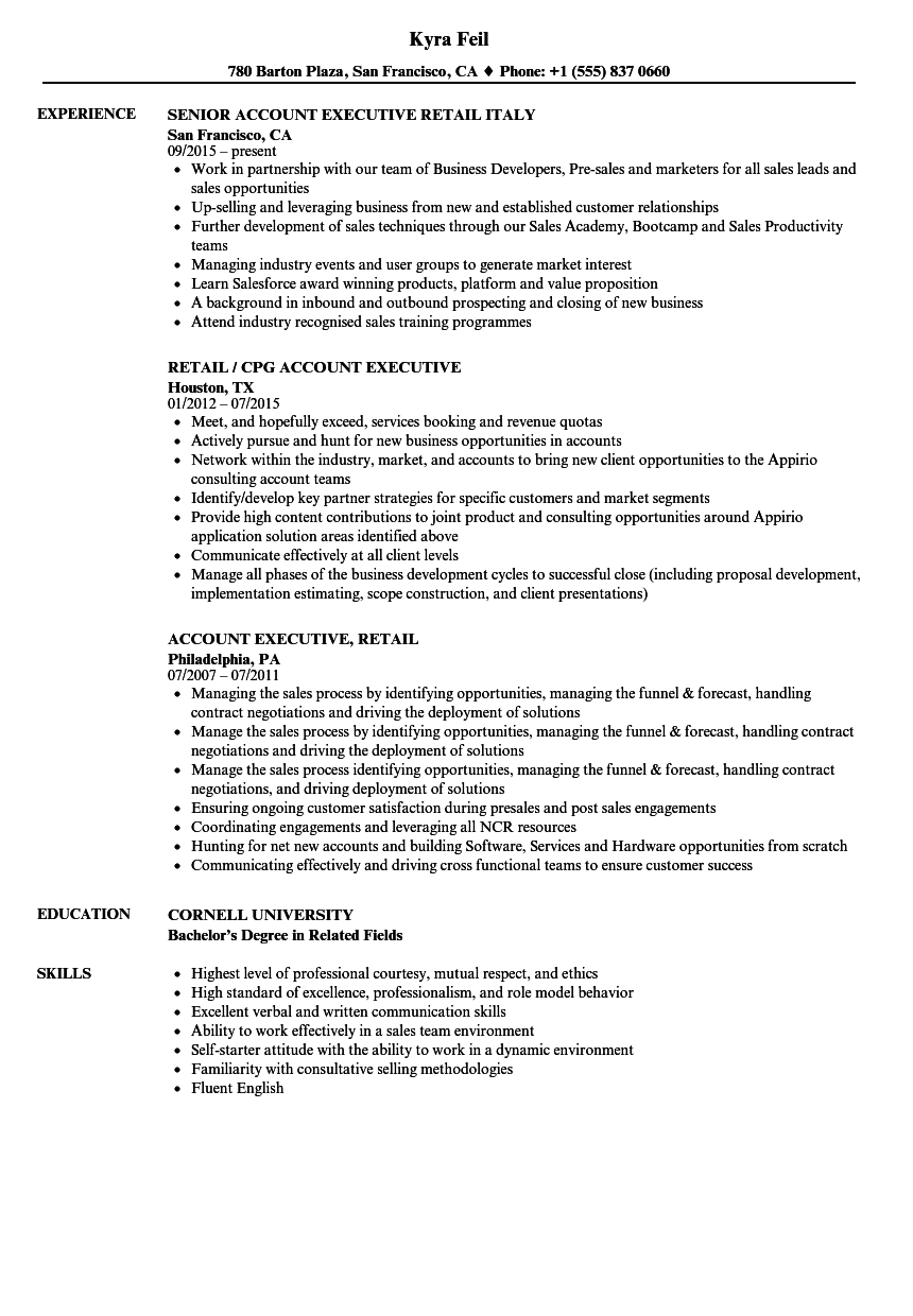 Account Executive Retail Resume Samples Velvet Jobs