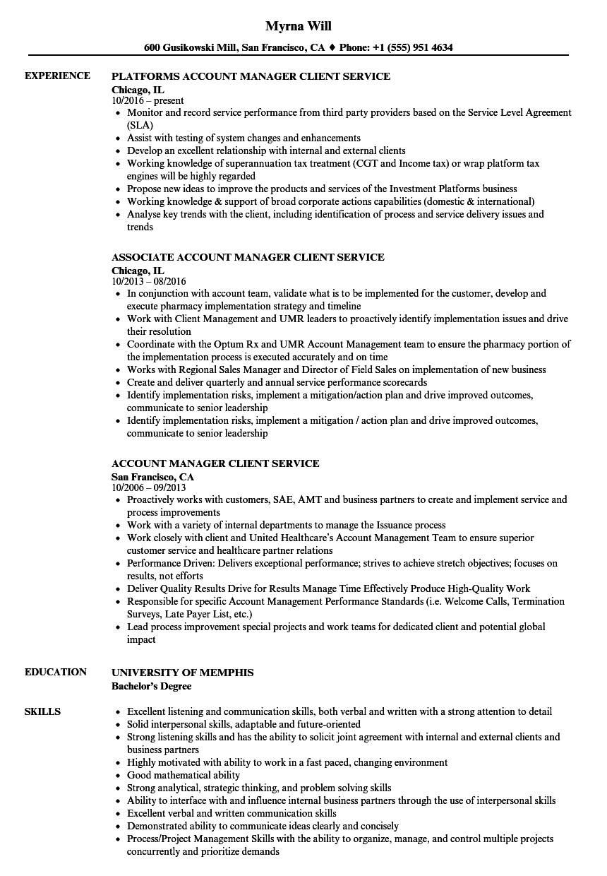 Account Manager Client Service Resume Samples | Velvet Jobs