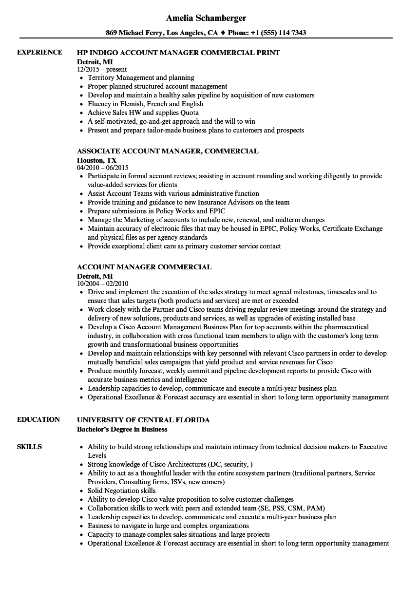 account manager commercial resume samples