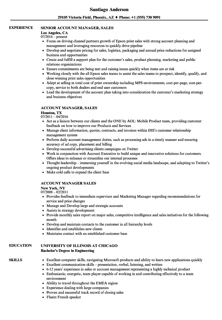 Account Manager, Sales Resume Samples | Velvet Jobs