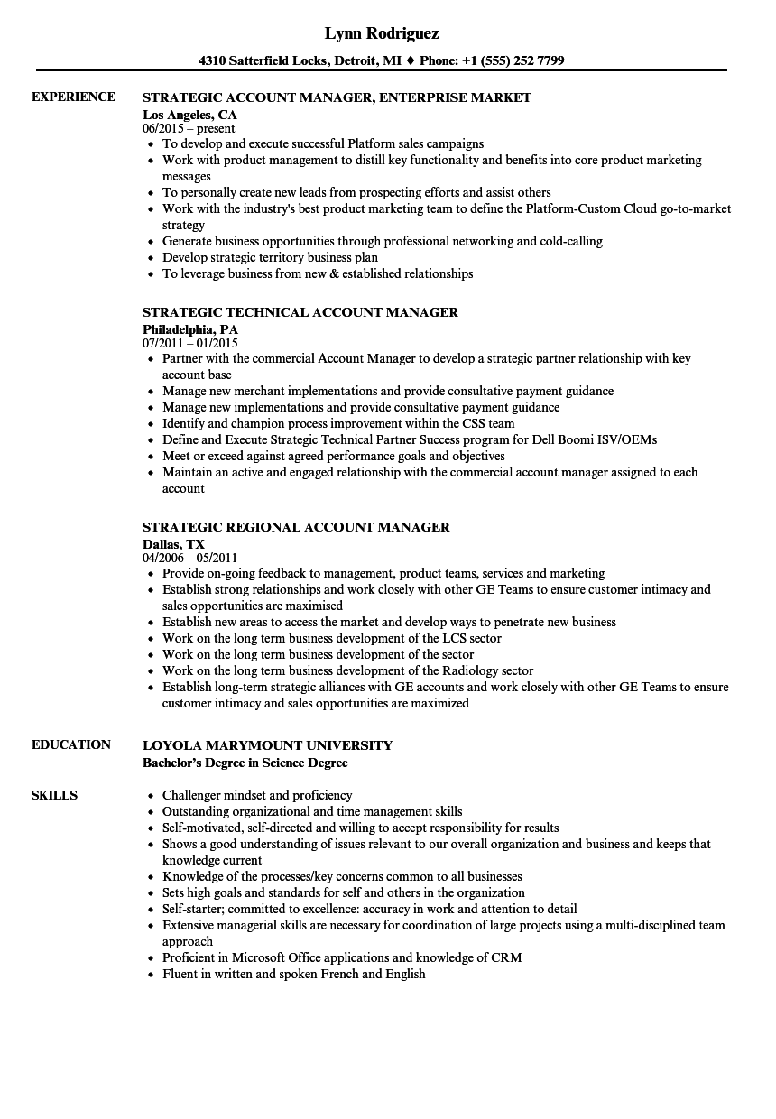 account manager  strategic resume samples