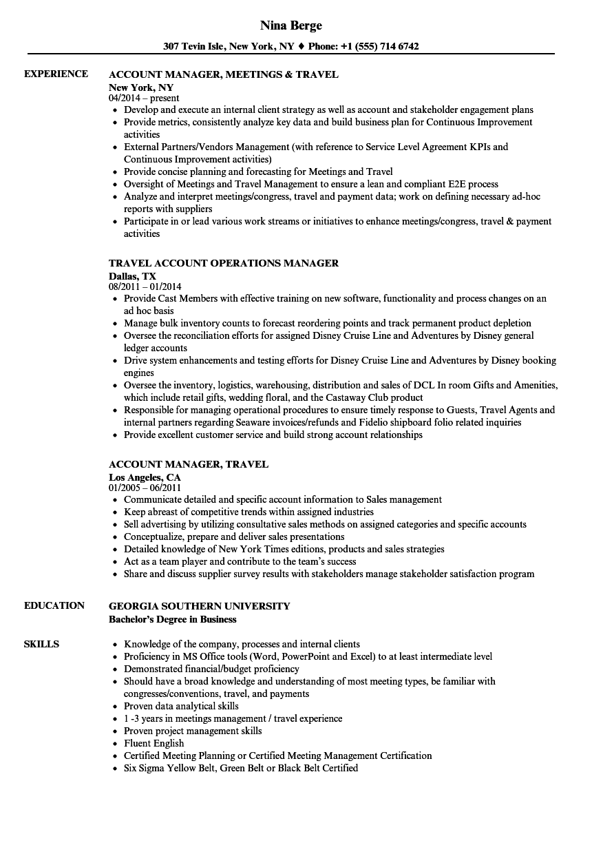 account manager travel resume samples velvet jobs