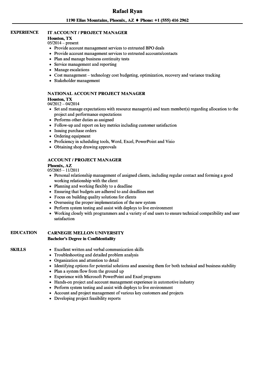 Account Project Manager Resume Samples Velvet Jobs
