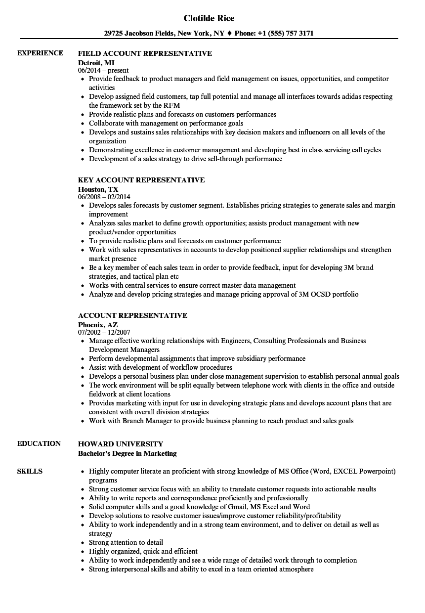 account representative resume samples