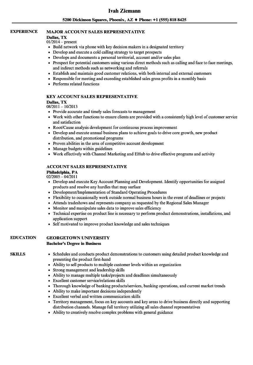 account sales representative resume samples