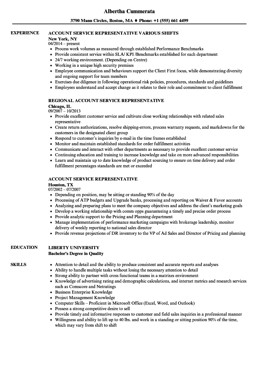 account service representative resume samples