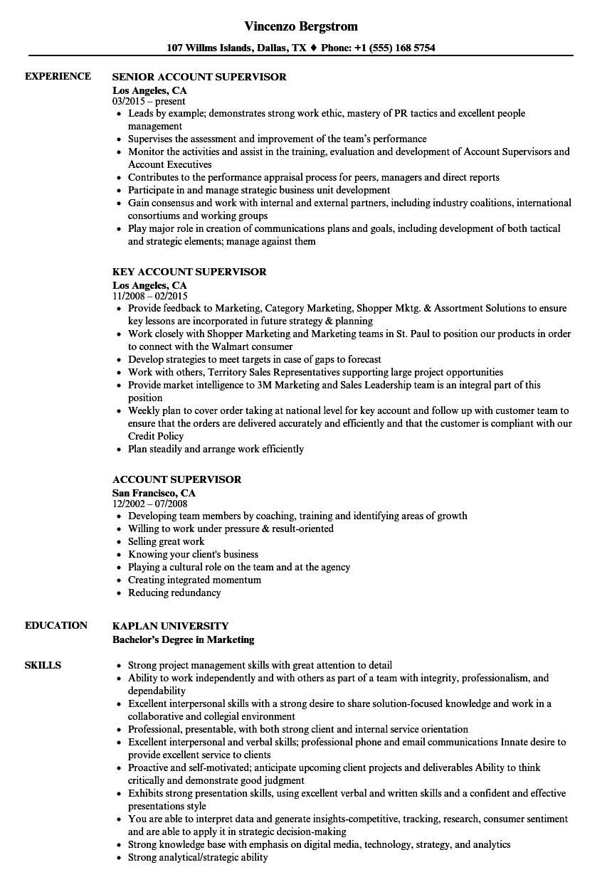 Download Account Supervisor Resume Sample As Image File