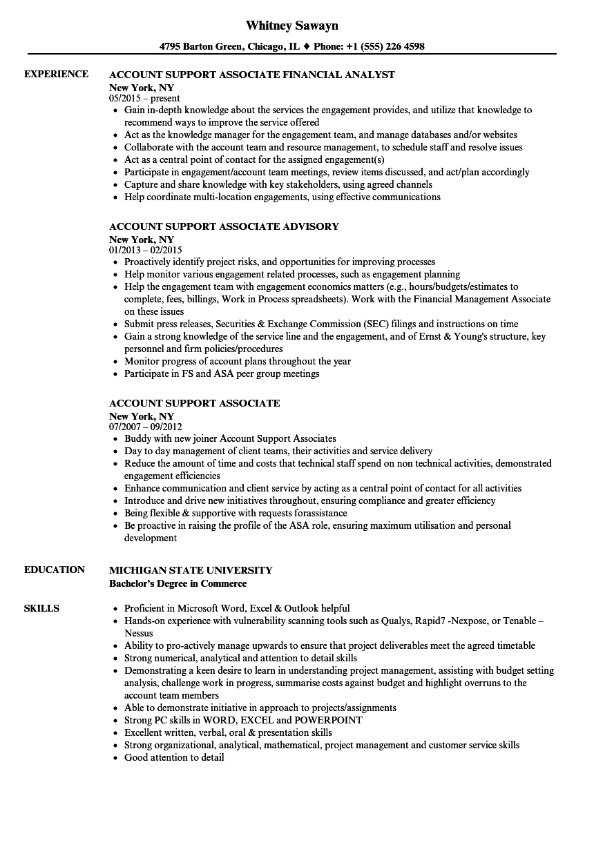 account support associate resume samples