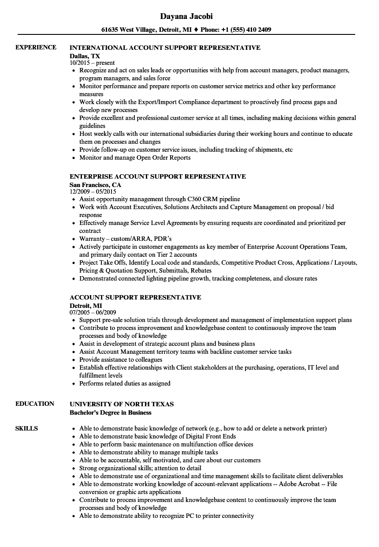 Account Support Representative Resume Samples | Velvet Jobs