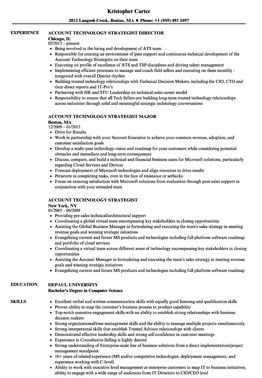 account technology strategist resume samples