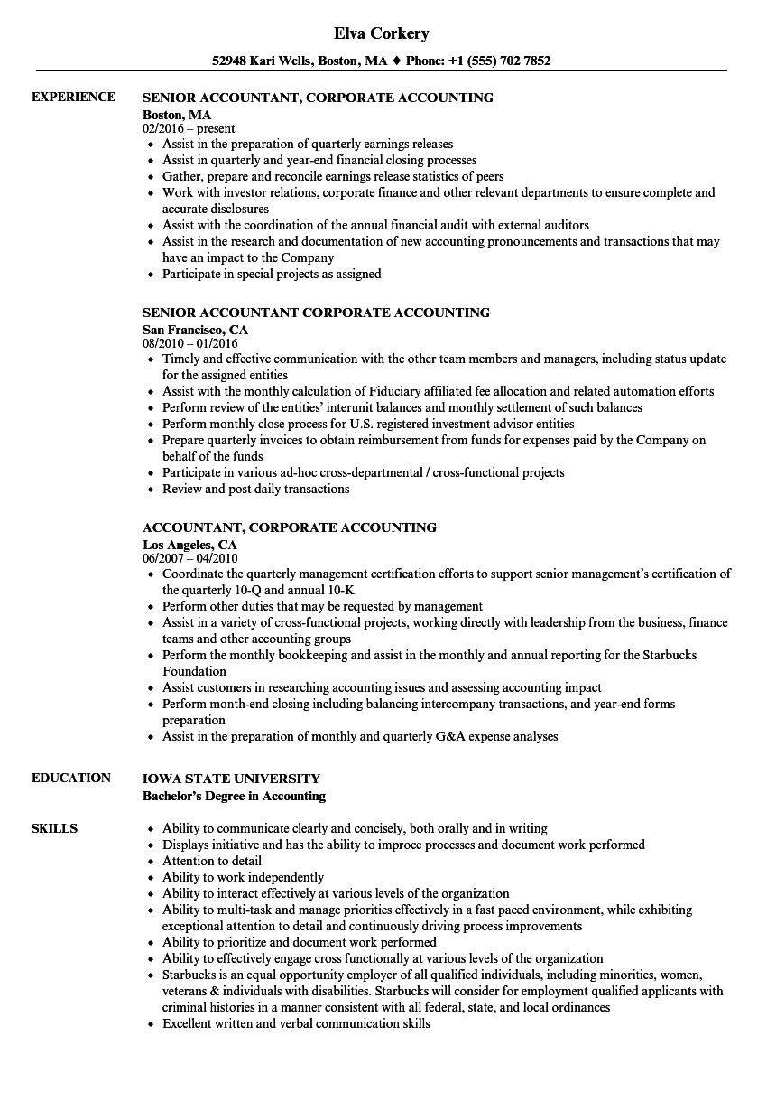 download accountant corporate accounting resume sample as image file