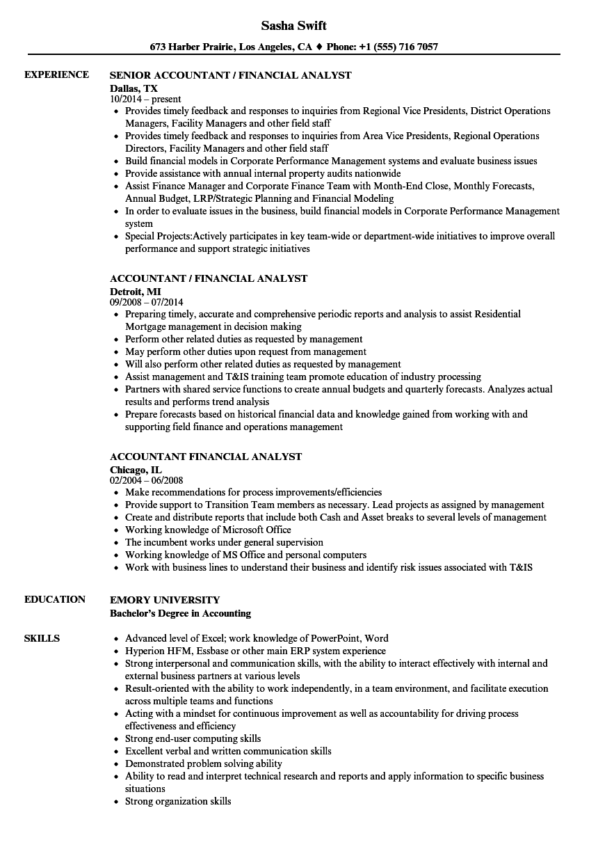 accountant    financial analyst resume samples