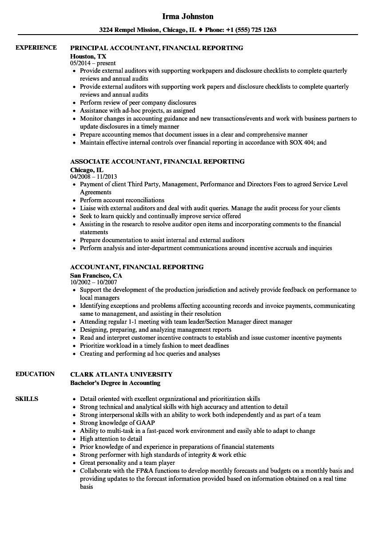 Accountant, Financial Reporting Resume Samples | Velvet Jobs