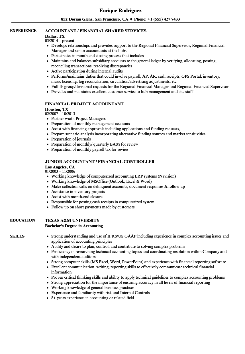 Accountant Financial Resume Samples Velvet Jobs