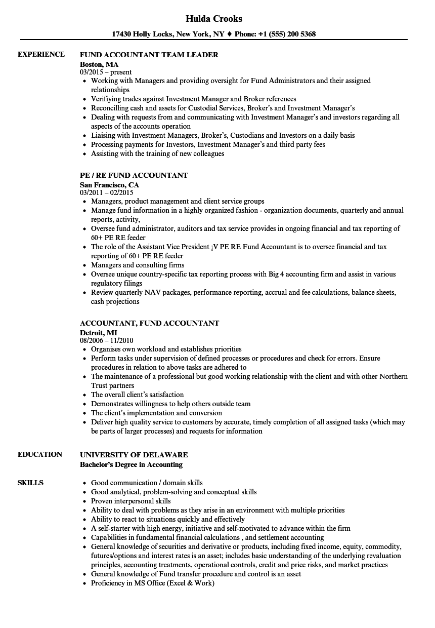 Accountant, Fund Accountant Resume Samples | Velvet Jobs
