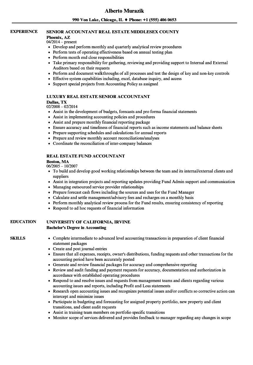 Accountant, Real Estate Resume Samples | Velvet Jobs