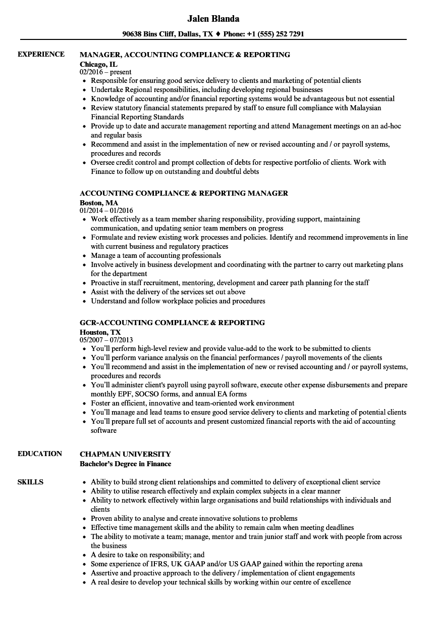 accounting compliance reporting resume samples velvet jobs
