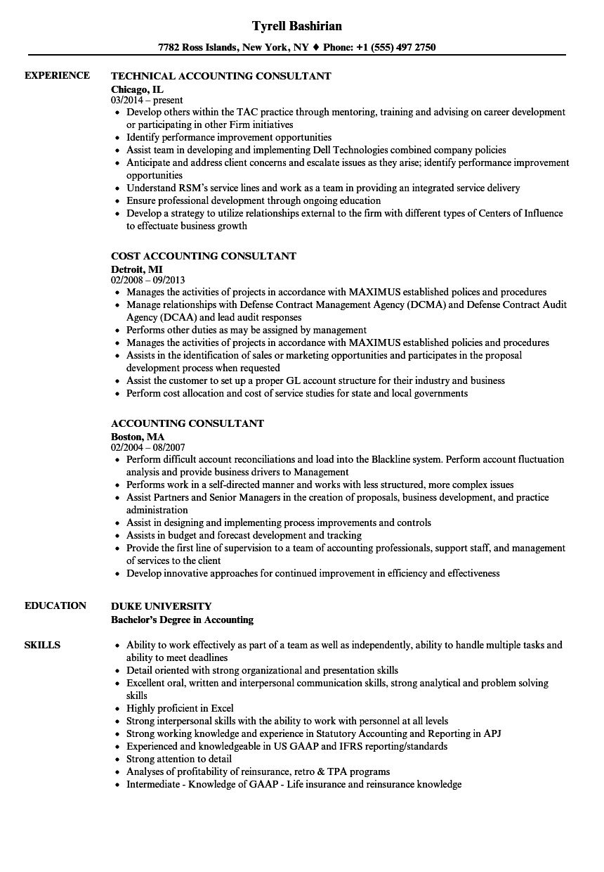 Accounting Consultant Resume Samples | Velvet Jobs