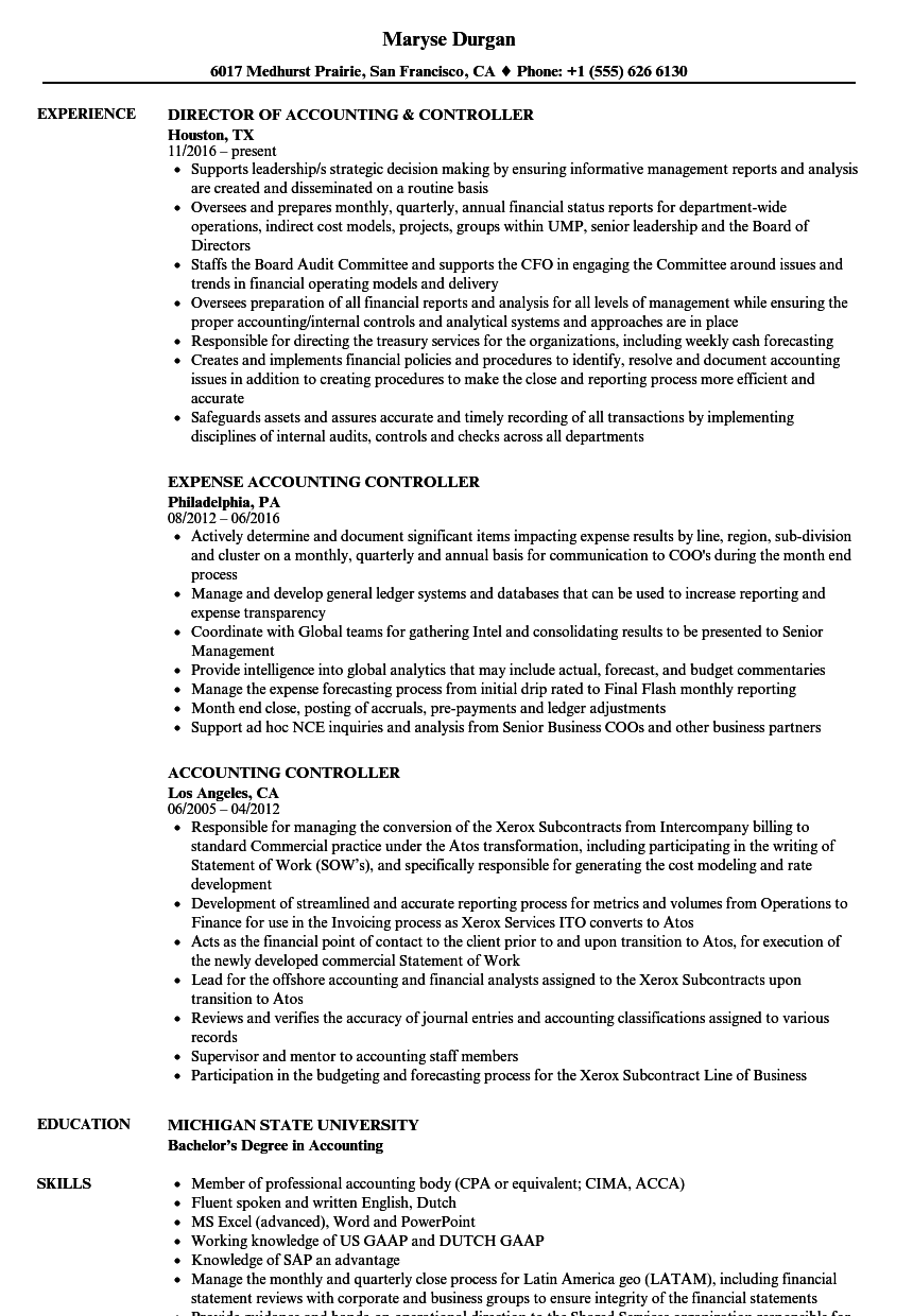 Financial Resume | Accounting Controller Resume Samples Velvet Jobs