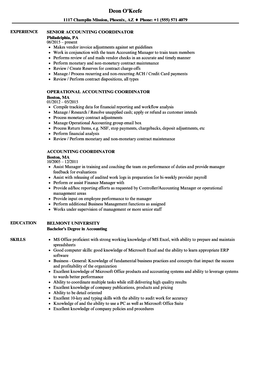 Accounting Coordinator Resume Samples | Velvet Jobs