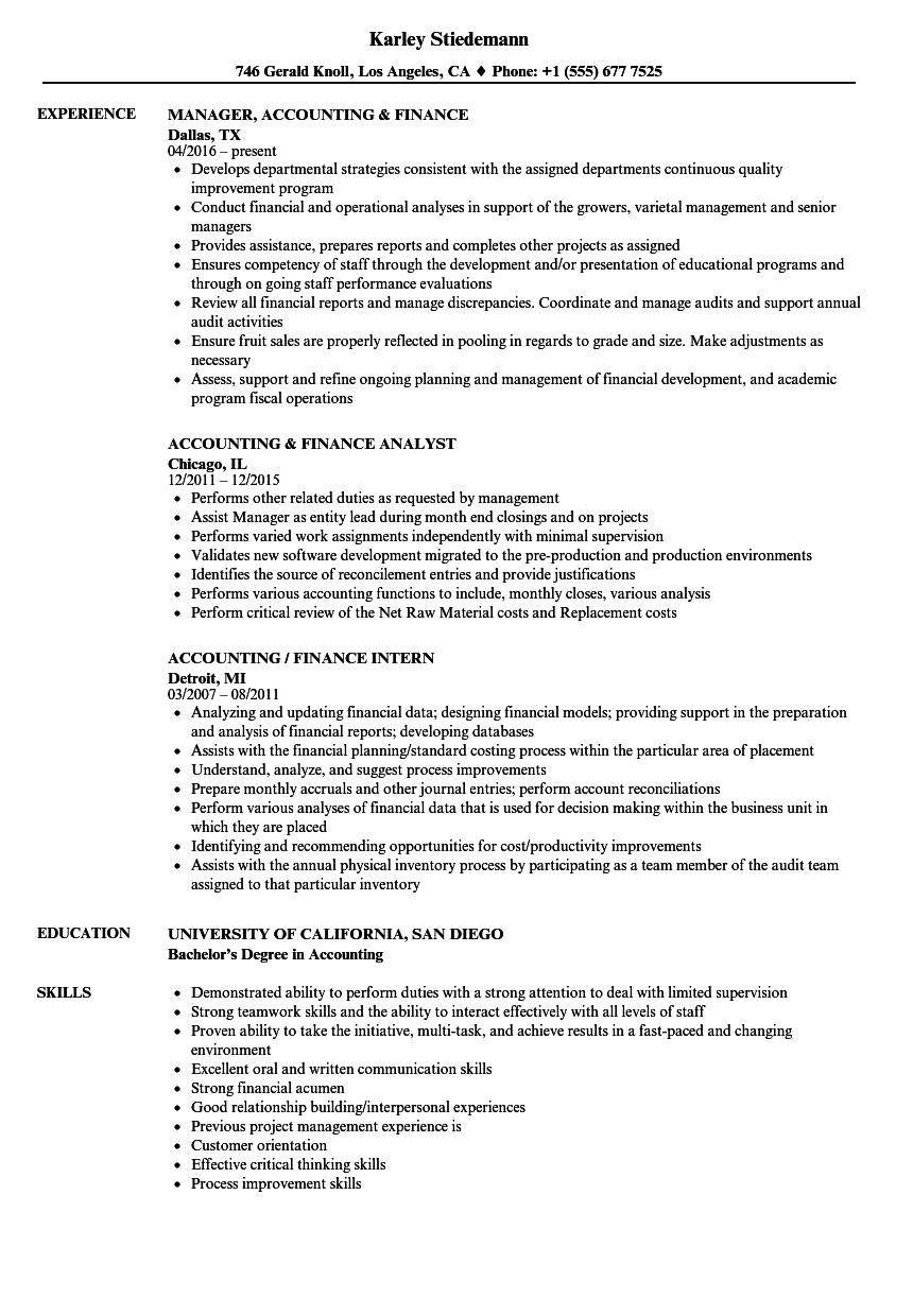 Accounting / Finance Resume Samples | Velvet Jobs