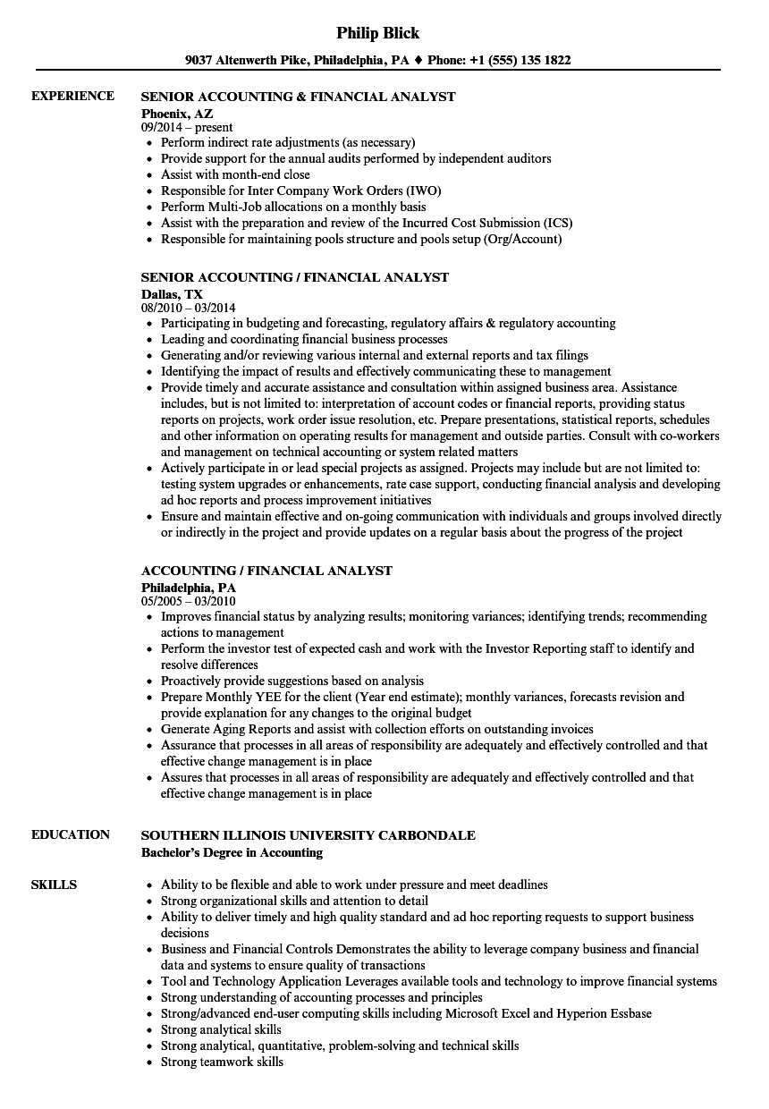 accounting    financial analyst resume samples