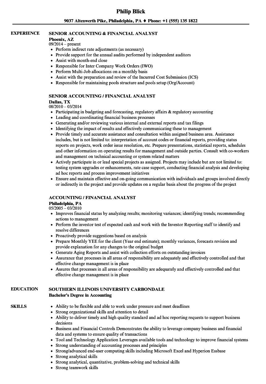 Accounting / Financial Analyst Resume Samples | Velvet Jobs