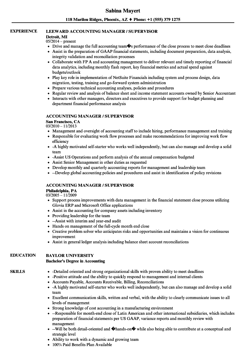 accounting manager supervisor resume samples velvet jobs