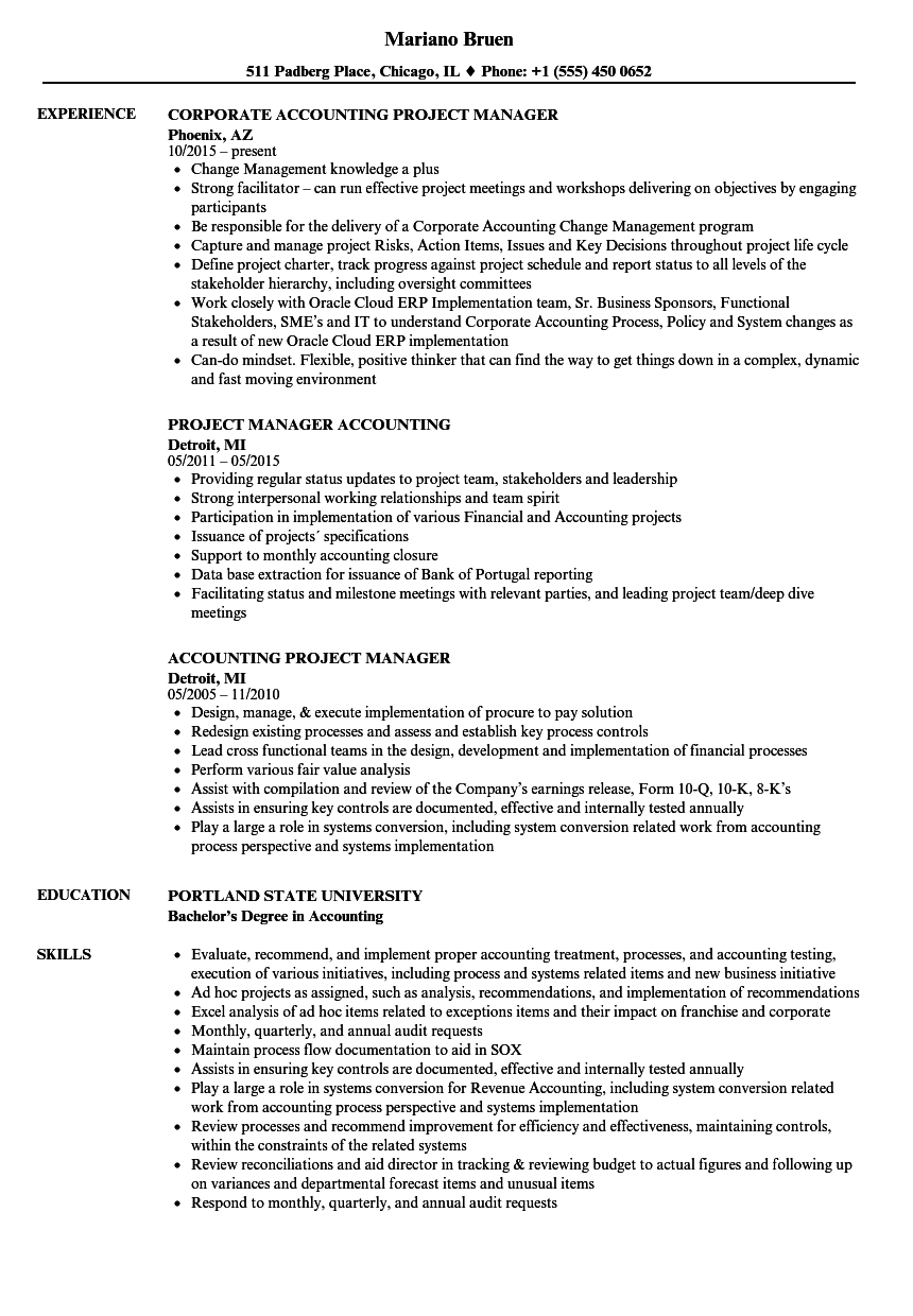 Accounting Project Manager Resume Samples Velvet Jobs