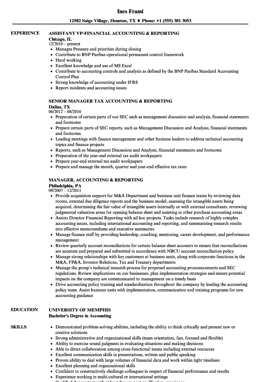 Accounting & Reporting Resume Samples | Velvet Jobs