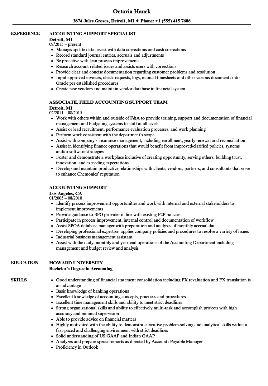 Download Accounting Support Resume Sample As Image File  Resume For Accounting
