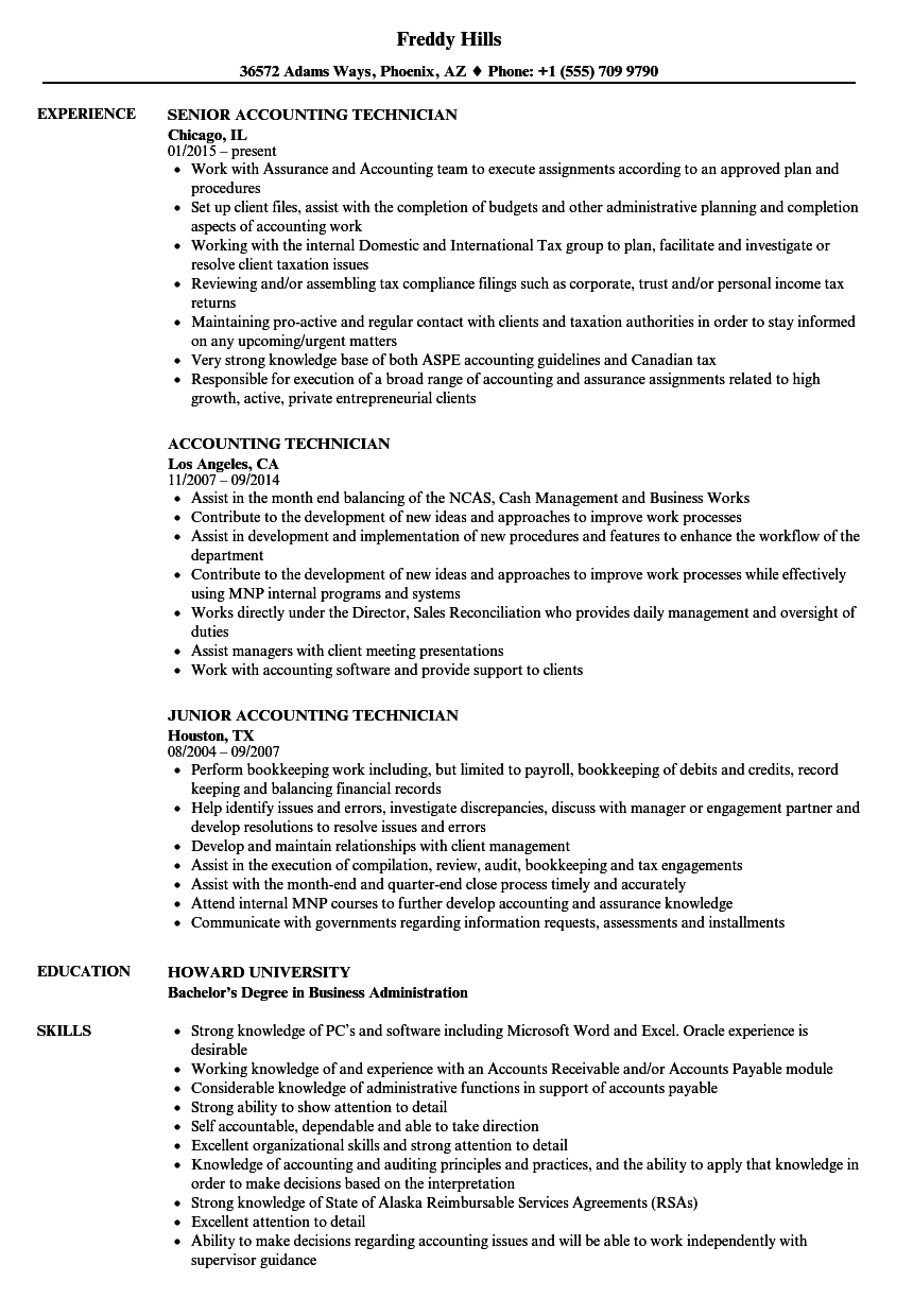 Accounting Technician Resume Samples | Velvet Jobs